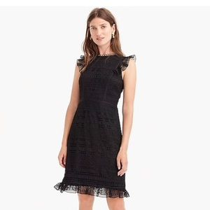 J Crew cap sleeve ruffle dress in mixed lace